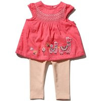 Baby Girl Cotton Short Sleeve Pink Llama Embroiderd Top And Leggings Set - Pink