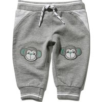 Baby boy cotton blend grey full length rib stretch waist monkey knee patch cuffed joggers  - Grey