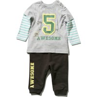 Baby boy cotton rich long stripe mock sleeve awesome slogan top and cuffed joggers set  - Grey