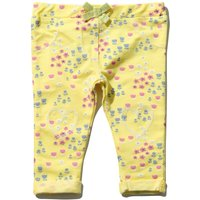 Baby girl yellow cotton stretch floral print stretch waist heart knee patch jeggings  - Yellow