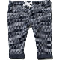Baby girl navy cotton blend white polka dot print stretch waist turn up jeggings  - Navy