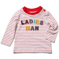 Baby boy cotton long sleeve crew neck red stripe ladies man embroidery slogan t-shirt  - White