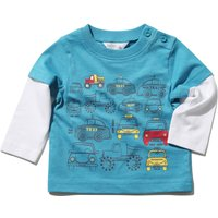 Baby Boy Cotton Blue Long Mock Layer Sleeve Crew Neck Transport Print T-shirt - Teal