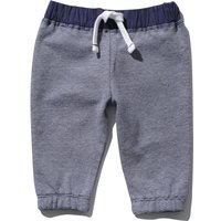 Baby boy navy pure cotton stripe elasticated drawstring waist cuffed ankle joggers  - Navy