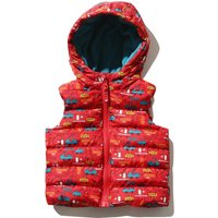 Baby Boy Sleeveless Red Transport Print Zip Front Padded Hooded Gilet - Red