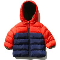 Baby boy Tangerine navy colour block design hooded padded zip up jacket  - Navy
