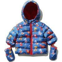 Baby Boy Navy Long Sleeve Zip Front Dinosaur Print Hooded Padded Jacket With Mittens - Blue