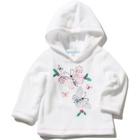 Baby Girl White Long Sleeve Butterfly Embroidered Design Front Hooded Jumper Soft Fleece Top  - Crea