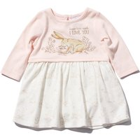 Guess How Much I Love You baby girl pink cream long sleeve nutbrown hare embroidery dress with body
