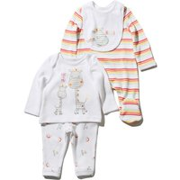 Unisex baby red and Tangerine stripe giraffe print cotton long sleeve sleepsuit outfit and bib set