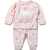 Newborn baby girl pink cotton long sleeve cat frill top and cuffed print joggers set  - Baby Pink