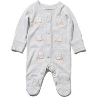 Baby Pure Cotton Long Sleeve Popper Fastening Owl Print Sleepsuit With Integral Scratch Mitts - Grey Marl