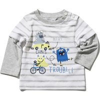 Baby Boy Cotton Rich Grey And White Stripe Monster Trouble Slogan Double Layer Crew Neck Top - White