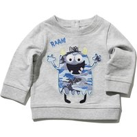 Baby Boy Long Sleeve Grey Marl Round Neck Monster Print Elbow Patch Back Button Sweater - Grey Marl