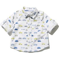 Baby Boy White 100% Cotton Green And Blue Car Print Three Quarter Length Sleeve Button Front Shirt - White