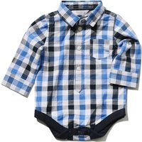 Baby boy 100% cotton long sleeve blue checked pattern classic collar mock shirt bodysuit  - Blue