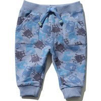 Baby Boy Cotton Jersey Stretch Waist Cuffed Ankle Monster Print Joggers - Blue