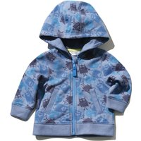 Baby Boy Blue Cotton Blend Long Sleeve Monster Camo Print Hooded Zip Front Hoody - Blue
