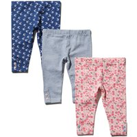 Baby girl cotton stretch pink floral blue bird plain button trim leggings three pack  - Blue