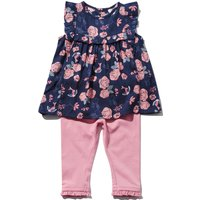 Baby Girl Cotton Stretch Jersey Short Sleeve Rose Print Frill Top And Full Length Leggings Set - Navy