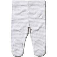 Baby pure cotton elasticated waist Stripe print joggers with feet  - Grey Marl