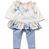 Baby Girl White Long Sleeve Floral Butterfly Frill Peplum Top And Blue Leggings Set - White