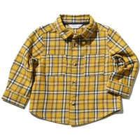 Baby Boy 100% Brushed Cotton Yellow Mustard Long Sleeve Checked Pattern Button Front Shirt - Mustard