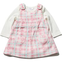 Newborn baby girl pink check fleece pinny dress and long sleeve bodysuit set  - Pink