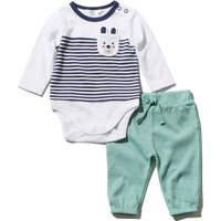 Baby Boy Bear Print Mock Top Bodysuit And Matching Joggers Two Piece Set - Teal