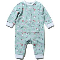 Baby Boy Soft Cotton Long Sleeve Transport Print Sleepsuit - Mint