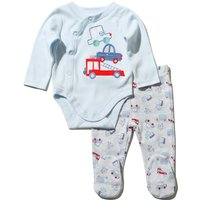 Baby Boy Long Sleeve Popper Bodysuit And Matching Transport Print Joggers Set - Blue