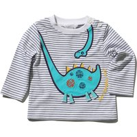 Baby Boy Long Sleeve Crew Neck Striped Dinosaur Applique T-shirt - White