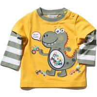Baby Boy Long Sleeve Crew Neck Double Layer Dinosaur And Transport Design T-shirt - Mustard