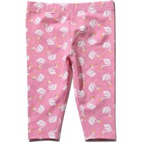 Baby Girl Pink Cotton Stretch Swan Print Elasticated Waist Leggings - Pink
