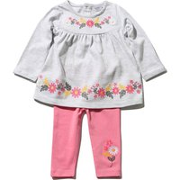 Baby Girl Pink And Grey Floral Embroidered Smock Top & Full Length Leggings Outfit Set - Grey