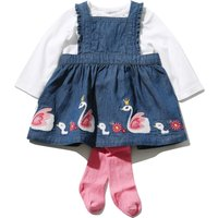Baby girl denim look swan frill pinny dress long sleeve top and pink tight outfit set  - Denim