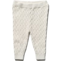 Baby Girl White Stretch Waist Cable Knit Finish Full Length Knitted Leggings - Cream