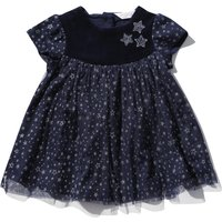 Kids Baby Girl Short Sleeve Luxe Velour Yoke Button Back Cosmic Star Print Fit And Flare Party Dress - Navy