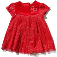Kids Baby Girl Short Sleeve Luxe Velour Yoke Button Back Cosmic Star Print Fit And Flare Party Dress - Red
