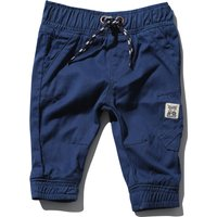 Baby boy cotton plain stretch waist pockets cuffed ankle twill cargo trousers  - Navy