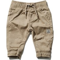 Baby Boy Cotton Plain Stretch Waist Pockets Cuffed Ankle Twill Cargo Trousers - Stone