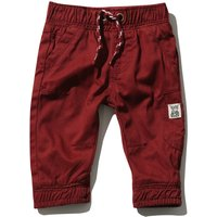 Baby Boy Cotton Plain Stretch Waist Pockets Cuffed Ankle Twill Cargo Trousers - Rust