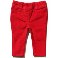 Baby girl cotton rich plain stretch waistband ribbed cord trousers - Red