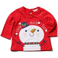 Baby girl cotton stretch long sleeve crew neckline polka dot pom pom sequin snowman t-shirt  - Red
