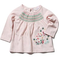 Baby girl cotton blend long sleeve stretch yoke floral embroidery smock t-shirt  - Pink