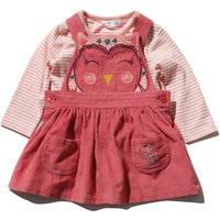 Kids Baby girl super soft cord owl design pinafore dress and matching long sleeve top  - Pink