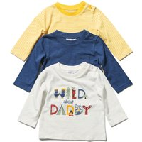 Baby Boy 100% Cotton Long Sleeve Crew Neck Daddy Slogan Stripe Plain T-shirts Three Pack - Multicolour