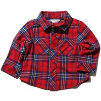Baby Boy Brushed Cotton Long Sleeve Red Check Pattern Classic Collar Button Front Shirt - Red