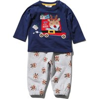 Baby Boy Cotton Navy Reindeer Top And Grey Joggers Christmas Outfit Set - Navy