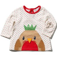 Baby girl cotton long sleeve red crew neck sequin robin polka dot pattern top  - White
